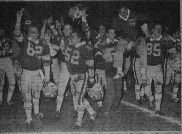 The moments after the 1980 CIF title game.  Lifting up coach Miller is Danny Smith and Jordie Cassell. To the far left, with fingers in the air are Phil Sparling and Scott M. Ditty