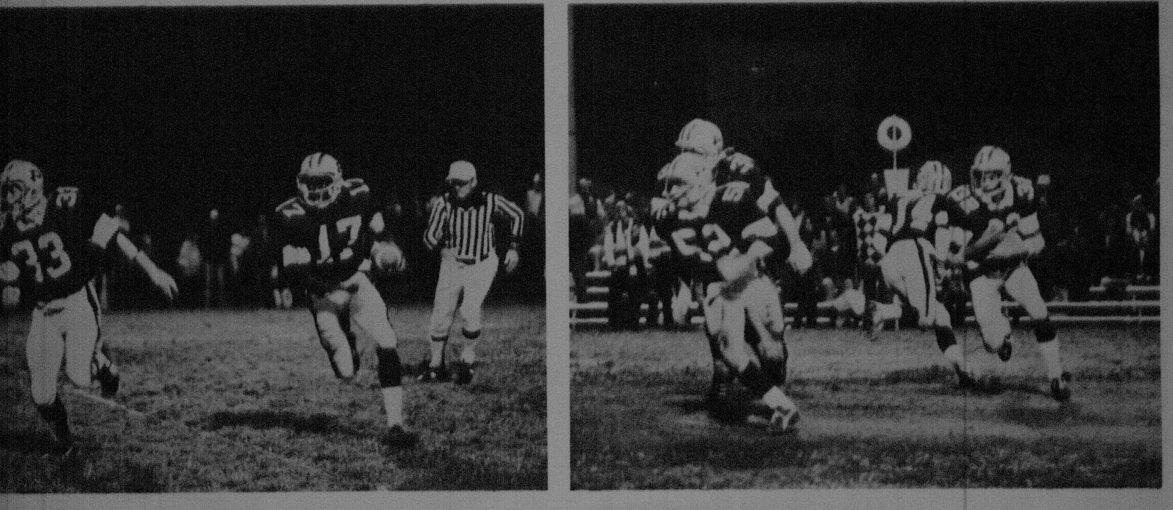 1979 SFL Championship team. On the left is #33 Gary Silva out in front of # 17 Terry Spivey.  To the right is Scott M. Ditty, #52 out in front of #32 Tim Lopez.